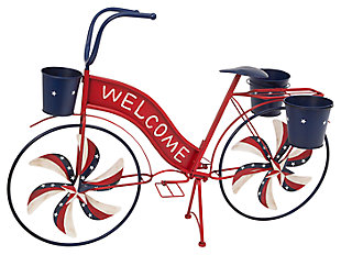 Decorative Metal Bicycle with Spinning Spokes and Planters, , large