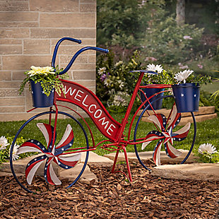 Decorative Metal Bicycle with Spinning Spokes and Planters, , rollover