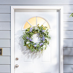 """Decorative 24"""" Diameter Hyacinth and Lavender Twig Wreath, , rollover"""
