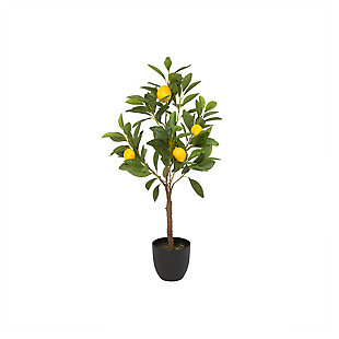 Decorative Artificial Lemon Tree in Black Pot, , large