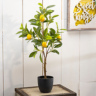 Decorative Artificial Lemon Tree in Black Pot, , rollover