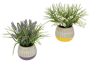 Decorative Assorted Artificial Flowers in Decorative Pot (Set of 2), , large