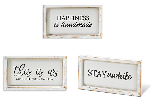 """Decorative 13.3"""" Long Assorted Wood and Metal Wall Décor (Set of 3), , large"""
