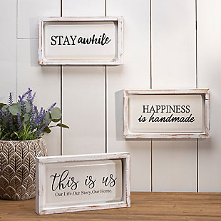 """Decorative 13.3"""" Long Assorted Wood and Metal Wall Decor (Set of 3), , rollover"""