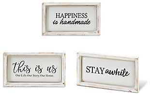 """Decorative 13.3"""" Long Assorted Wood and Metal Wall Decor (Set of 3), , large"""