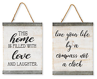 Decorative Assorted Wood and Metal Accent Wall Décor (Set of 2), , large