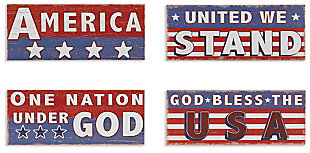 Decorative Long Assorted Wooden Americana Wall Décor (Set of 4), , large