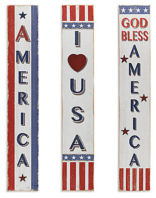 Decorative Assorted Wooden Americana Home Décor (Set of 3), , large