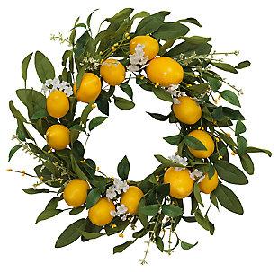 "Decorative 24"" Diameter Lemon Wreath with Berry Accents, , large"