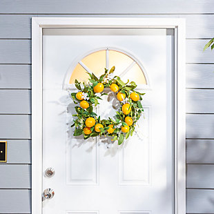 """Decorative 24"""" Diameter Lemon Wreath with Berry Accents, , rollover"""