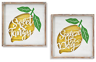 Decorative Wooden Lemon Design Wall Décor (Set of 2), , large