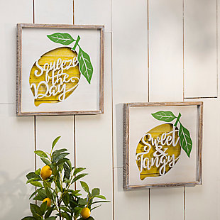 Decorative Wooden Lemon Design Wall Décor (Set of 2), , rollover