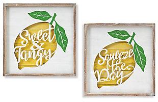 Decorative Wooden Lemon Design Wall Decor (Set of 2), , large