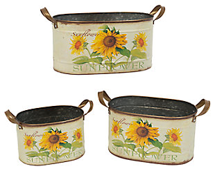 Decorative Metal Nesting Sunflower Decorative Buckets (Set of 3), , large
