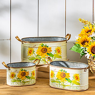Decorative Metal Nesting Sunflower Decorative Buckets (Set of 3), , rollover
