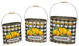 "Decorative Metal Nesting ""Farm Fresh Lemonade"" Buckets (Set of 3), , large"