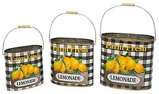 "Decorative Metal Nesting ""Farm Fresh Lemonade"" Buckets (Set of 3), , large"
