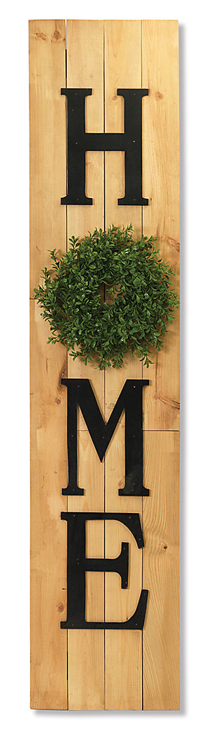 Decorative Wood Wall Décor with Wreath Accent, , large