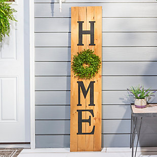 Decorative Wood Wall Decor with Wreath Accent, , rollover
