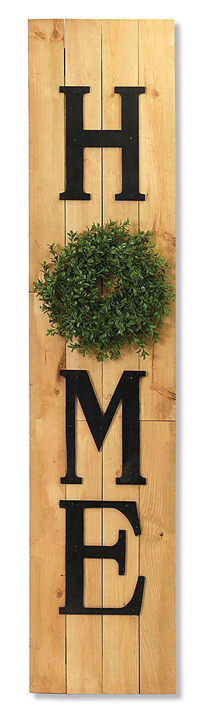 Decorative Wood Wall Decor with Wreath Accent, , large