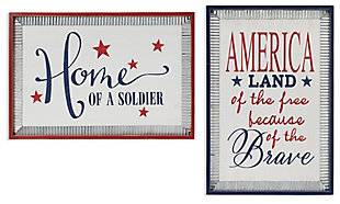 Decorative Wood Patriotic Wall Hanging with Metal Accents (Set of 2), , large