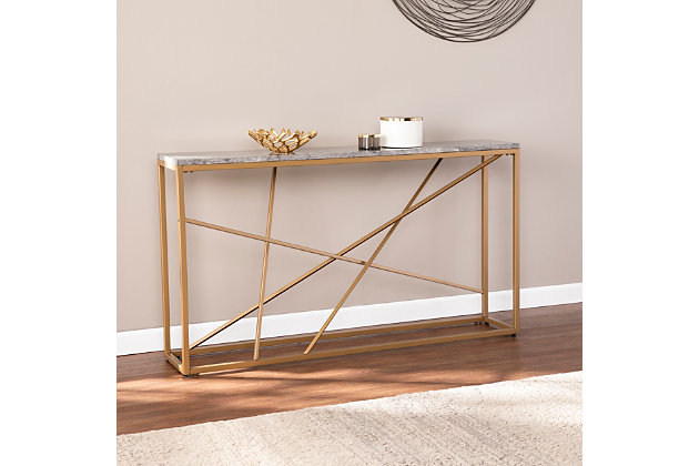 Home Accent Coulter Faux Stone Console Table, , large