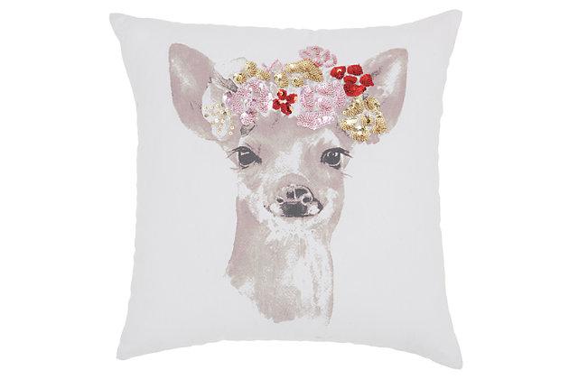 "Decorative Mina Victory 16"" x 16"" Beige Loop Shag Throw Pillow, , large"