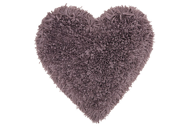 Decorative Mina Victory Shag Lavender Frame Heart Throw Pillow, Purple, large
