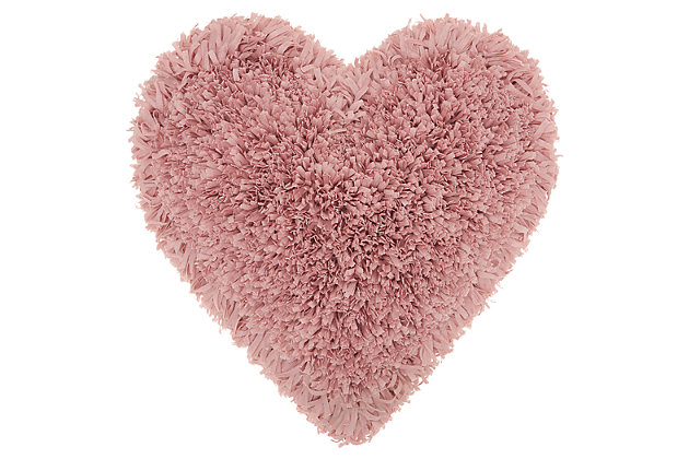 Decorative Mina Victory Shag Rose Frame Heart Throw Pillow, Pink, large