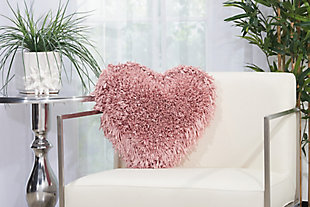 Decorative Mina Victory Shag Rose Frame Heart Throw Pillow, Pink, rollover