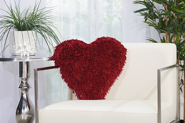 Decorative Mina Victory Shag Deep Red Frame Heart Throw Pillow, Red, large