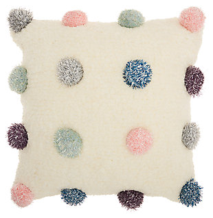 Decorative Mina Victory Shag Multicolor Shimmer Pom Poms Throw Pillow, , large