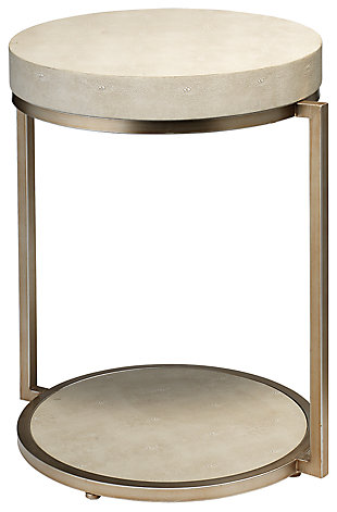 Home Accents Chester Round Side Table, White, large