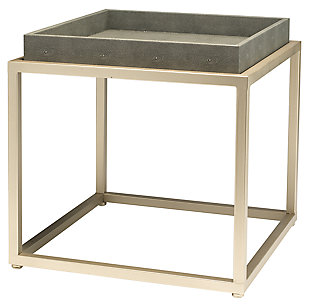Home Accents Jax Square Side Table, Gray, large
