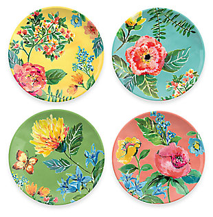 Melamine Garden Floral Assorted Salad Plate (Set of 4), , large