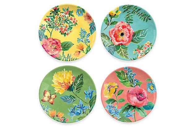 Melamine Garden Floral Assorted Salad Plate (Set of 4), , large