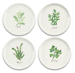 Melamine Garden Herbs Salad Plates (Set of 4), , large