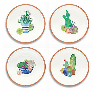 Melamine Rio Succulents Salad Plates (Set of 4), , large