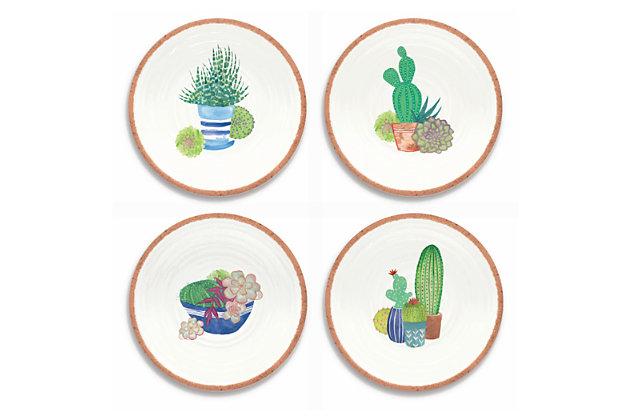 Melamine Rio Succulents Salad Plates (Set of 4), , large