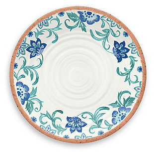 Tarhong Rio Turquoise Floral Dinner Plate (Set of 6), , large