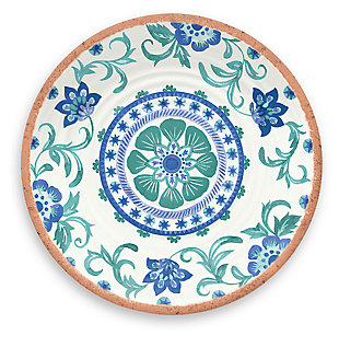 Tarhong Rio Turquoise Floral Salad Plate (Set of 6), , large