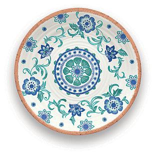 Tarhong Rio Turquoise Floral Round Platter, , large