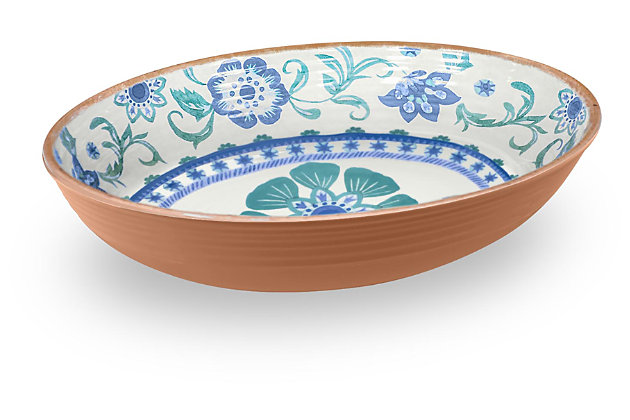 Tarhong Rio Turquoise Floral Oval Serve Bowl, , large