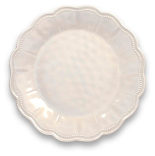 Tarhong Saville Scallop Oyster Luster Dinner Plate (Set of 6), White, large