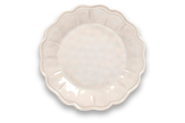Tarhong Saville Scallop Oyster Luster Salad Plate (Set of 6), White, large
