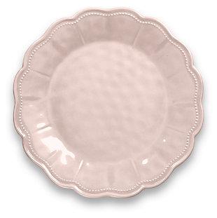 Tarhong Saville Scallop Pearl Blush Dinner Plate (Set of 6), Pink, large
