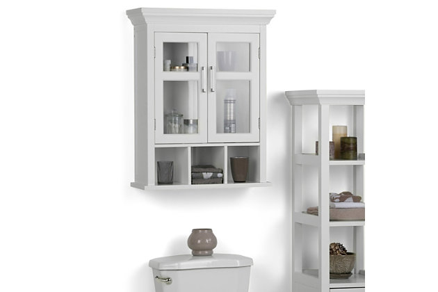 Contemporary Avington Two Door Wall Bath Cabinet with Cubbies, , large