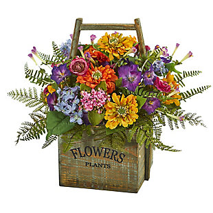 Home Accents Mixed Floral Artificial Arrangement in Wood Basket, , rollover