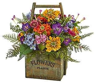 Home Accents Mixed Floral Artificial Arrangement in Wood Basket, , large
