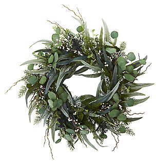 "Home Accents 24"" Eucalyptus and Mixed Greens Artificial Wreath, , large"